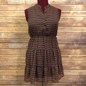 Pink & Gray Printed Ruffled Collar Dress